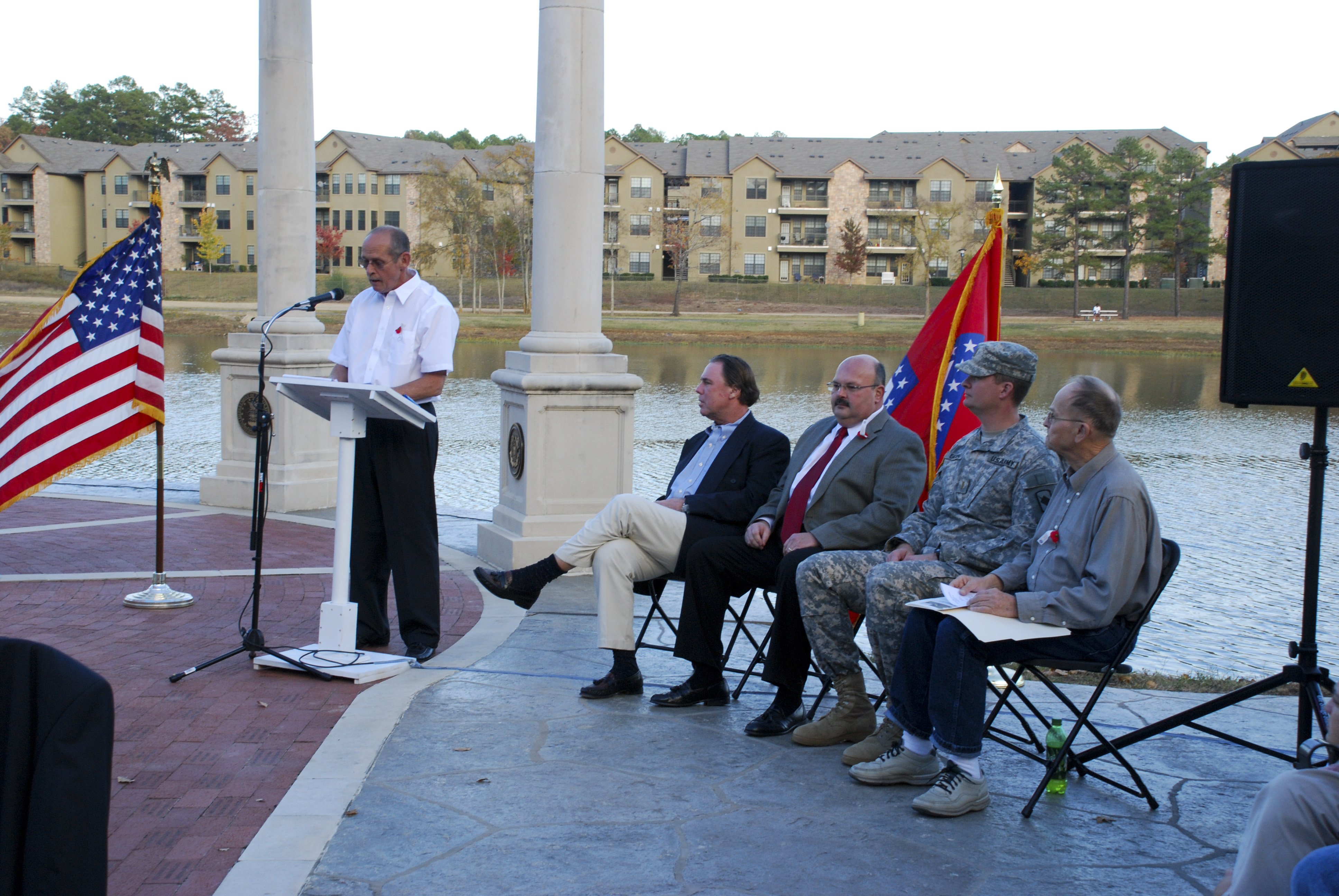 Ken Saunders, standing. Sam Williams, George Glenn, 2nd Lt. Scott Eaton, Dr. Robert Wilson