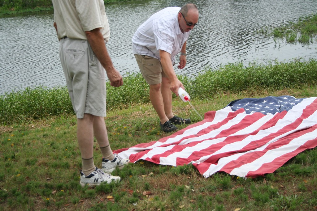 Preparing a large 6x10-ft flag for retirement